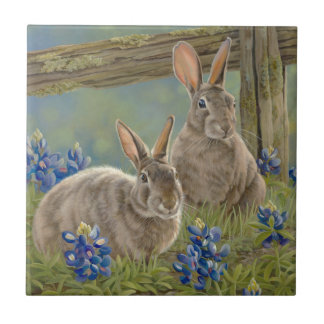 Bunnies & Bluebonnets Ceramic Tile