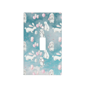 Bunnies Bunny in heaven-Cute Animal illustration Light Switch Cover