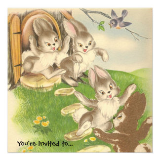 Bunnies Come Out to Play Easter Party Invitation