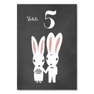 Bunnies Couple Chalkboard Style Wedding Reception Table Number
