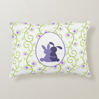 Bunnies Embrace Spring Floral Decorative Pillow
