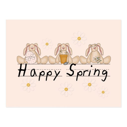 Bunnies Happy Spring T-shirts and Gifts Postcards