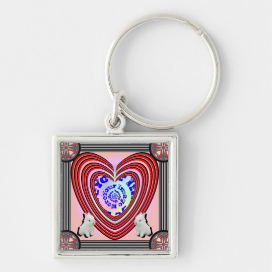 Bunnies Heart Frame Big Transparent Keychain