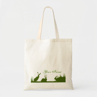 Bunnies in a Field, Silhouette Budget Tote Bag