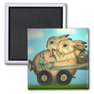 Bunnies In an Egg Car Easter Magnet