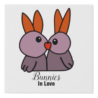 Bunnies In Love Faux Canvas Print