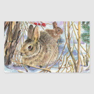 Bunnies in the Snow Rectangular Sticker