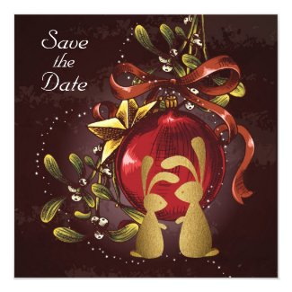 Bunnies n' Mistletoe Holiday Wedding Save the Date Card