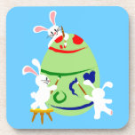 Bunnies painting an Easter egg Drink Coasters