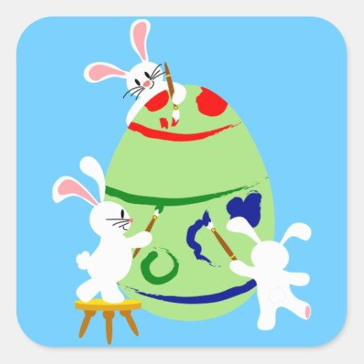 Bunnies painting an Easter egg Sticker