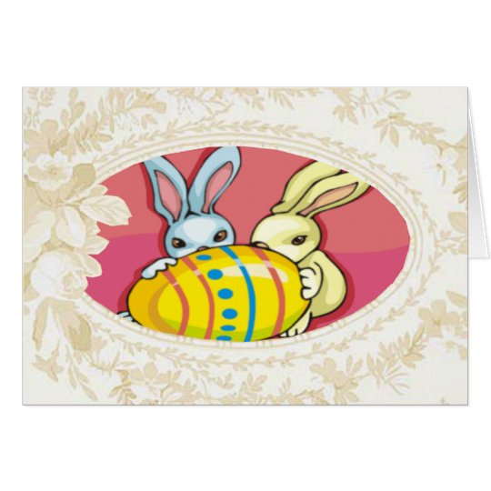 Bunnies Playing With An Egg Card
