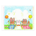bunnies with balloons postcard