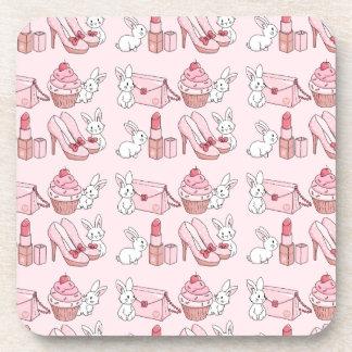 Bunnies with pink stuff beverage coaster