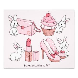 Bunnies with pink stuff photo print