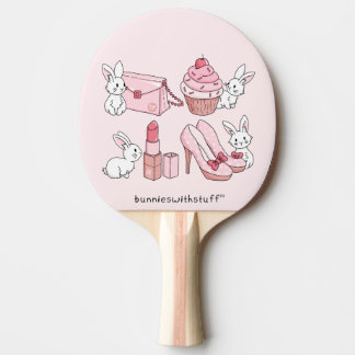 Bunnies with pink stuff Ping-Pong paddle