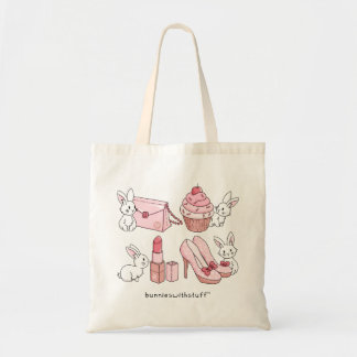 Bunnies with pink stuff tote bag