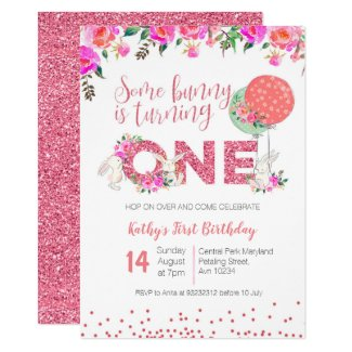 Bunny 1st Birthday Floral Invitation Pink glitter