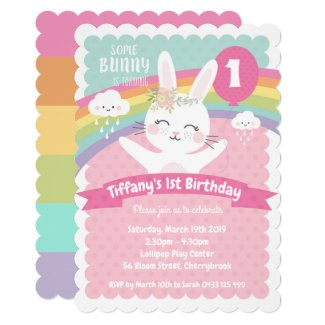 Bunny 1st Birthday Invitations Girls