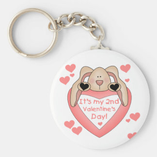 Bunny 2nd Valentine's Day Basic Round Button Keychain