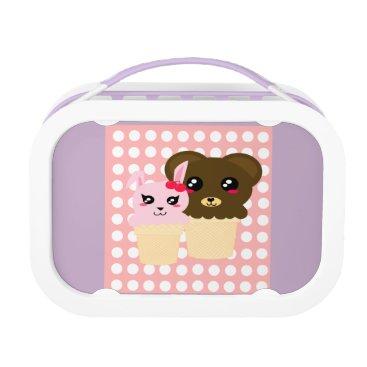 Beach Themed Bunny and Bear Ice Cream Violet Lunchbox