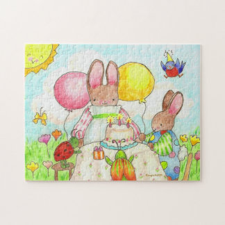 bunny and bug birthday party jigsaw puzzle