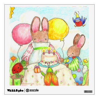 Bunny and bug birthday party wall decal