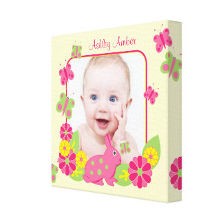 Bunny and Butterflies Custom Baby Photo Picture Gallery Wrap Canvas