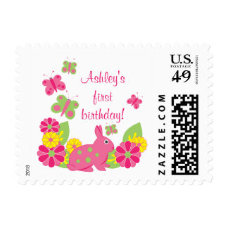 Bunny and Butterflies Girl s Birthday Postage
