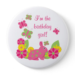 Bunny and Butterflies Girl's Birthday Button