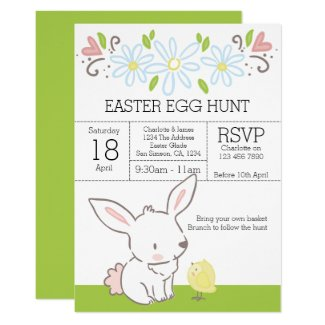 Bunny And Chick Easter Egg Hunt Brunch Invitation