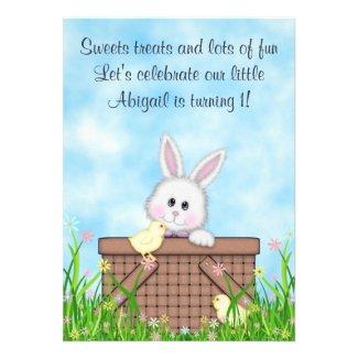 Bunny and Chicks 1st Birthday Invitation