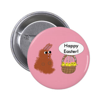 Bunny and Chicks Happy Easter Button