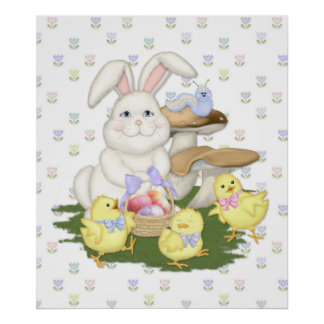 Bunny and Chicks Spring Celebration Poster