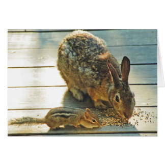 Bunny and Chipmunk Sharing Greeting Card