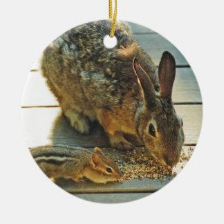 Bunny and Chipmunk Sharing Ceramic Ornament