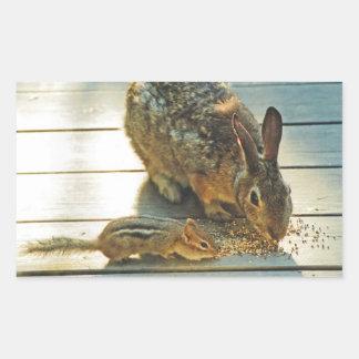 Bunny and Chipmunk Sharing Rectangular Sticker