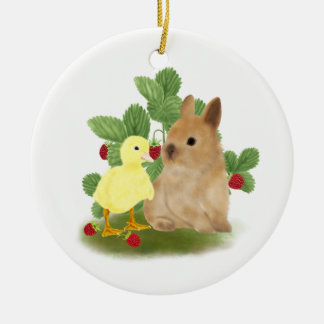 Bunny and Duckling Ceramic Ornament