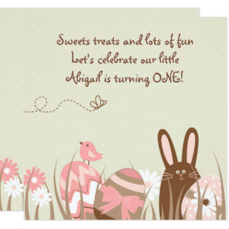 Bunny and Easter Eggs 1st Birthday Invite Girls