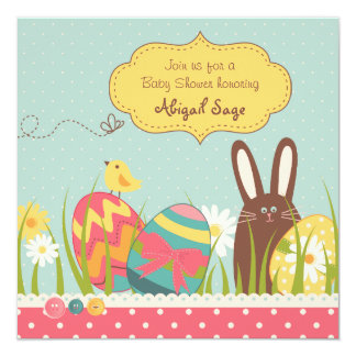 Bunny and Easter Eggs Baby Shower Invitation Girls