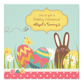 Bunny and Easter Eggs Birthday Invitation ~ Girls