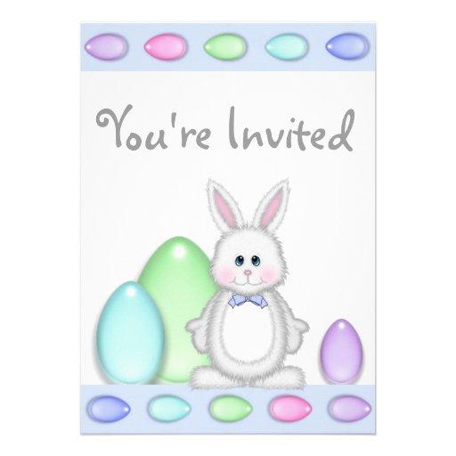Bunny and Eggs Easter Birthday Invitation ~ Boys