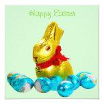"""Bunny and Eggs Invitation Template 5.25"""" Square Invitation Card"""