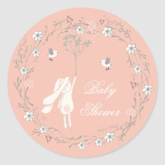 Bunny and Floral Dandelions Wreath Baby Shower Classic Round Sticker