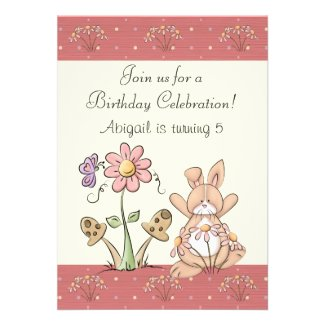 Bunny and Flowers Birthday Invitation for Girls