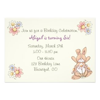 Bunny and Flowers Birthday Invitations for Girls