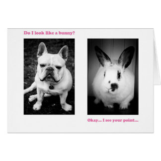 Bunny and French bulldog Card