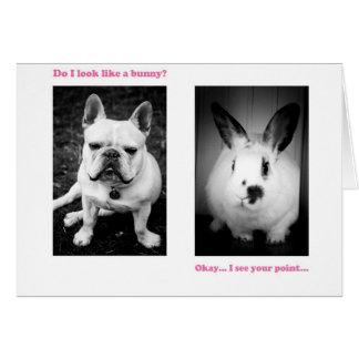 Bunny and French bulldog Greeting Card