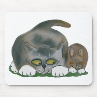 Bunny and Kitten are Best Friends Mouse Pad