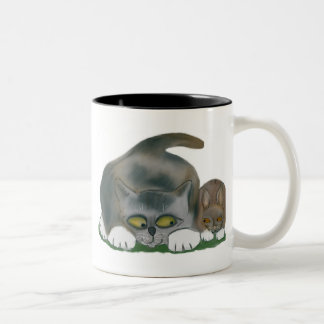Bunny and Kitten are Best Friends Two-Tone Coffee Mug