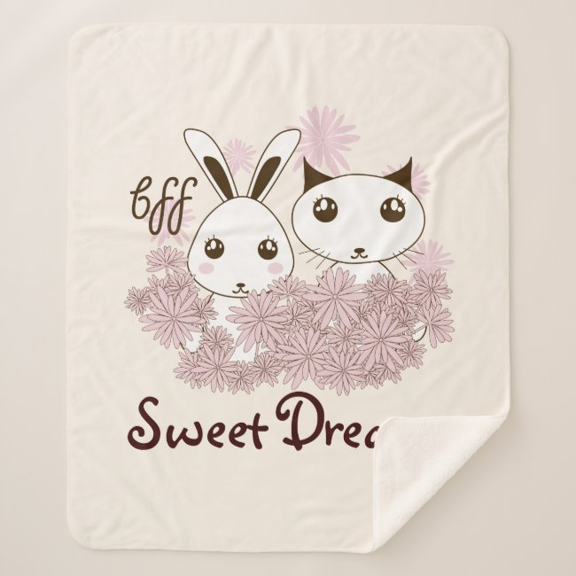 Bunny and Kitten Cute Animal Cartoon Ivory